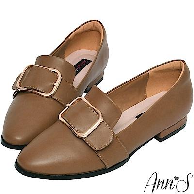 Ann'S 韓式文青 金屬圓弧方扣紳士平底鞋 咖啡