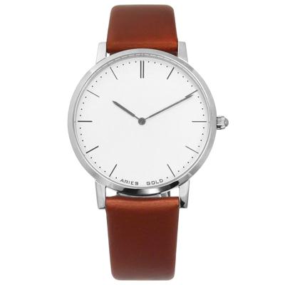 ARIES GOLD 雅力士 藍寶石水晶玻璃 快拆設計 日本機芯 真皮手錶 白x咖啡 41mm G1007S-W