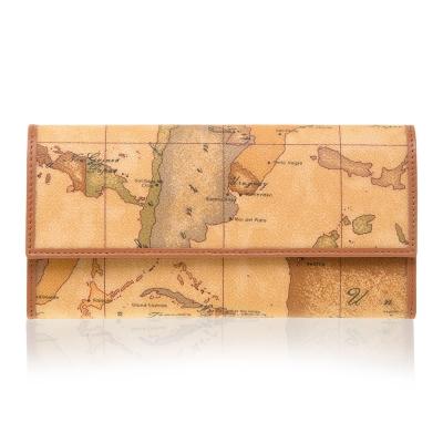 Alviero Martini 義大利地圖包 扣式12卡拉鍊零錢長夾-地圖黃