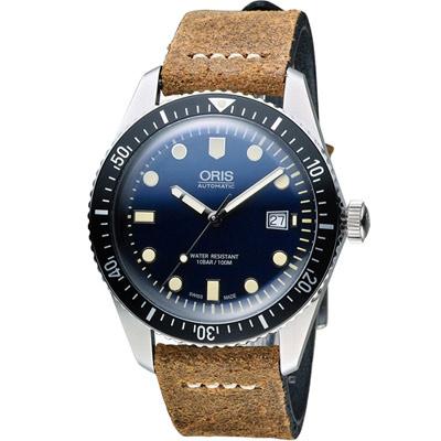 Oris豪利時 Divers Sixty-Five潛水機械腕錶-黑x咖啡色/42mm