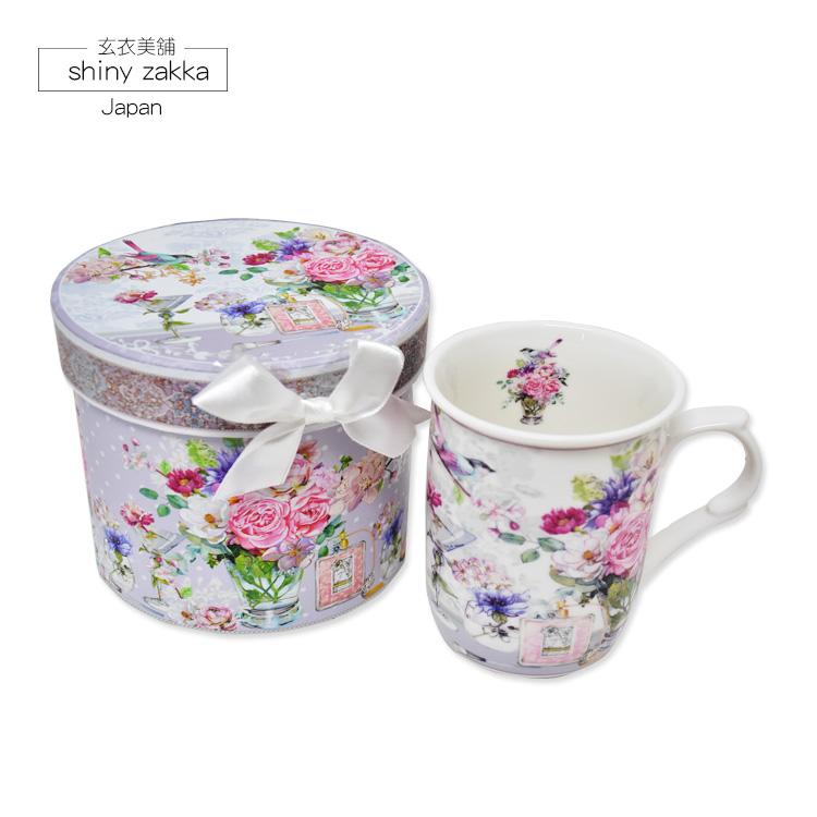 馬克杯-日本進口 玫瑰蝴蝶長型馬克杯/咖啡杯禮盒-玄衣美舖