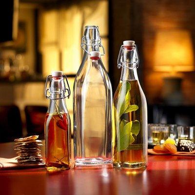 【奇滿來】萬用密封玻璃瓶500ml 透明圓瓶/方瓶 密封罐空瓶調味料醬料果汁泡酒牛奶酵素香麻油瓶冷飲露營野餐 ADGE