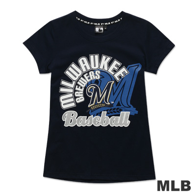 MLB-密爾瓦基釀酒人隊雙LOGO疊印短袖T恤-深藍(女)