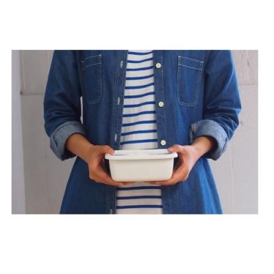 日本[野田琺瑯] 長深型保存盒附密閉蓋S 0.38L