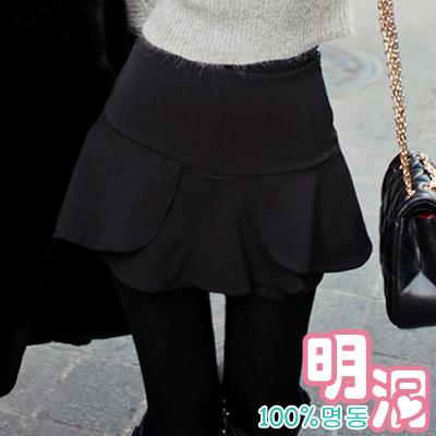 多層次立體剪裁俏麗褲裙 (共二色)-100%明洞