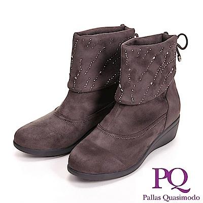 PQ 絨毛質感 亮鑽反折低筒女靴-咖(另有黑)