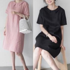 麻混ワンピース 大人女子 大人カジュアル シンプル ゆったり 韓国ファッション 韓国ワンピース