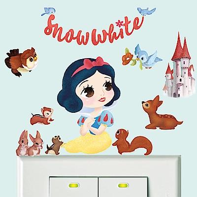 【itaste小品味】Q版公主開關壁貼-白雪公主