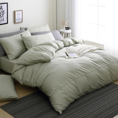 【DON】極簡生活 加大四件式200織精梳純棉被套床包組-森林綠