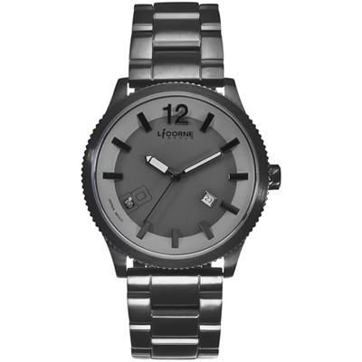 LICORNE MARCON馬卡龍系列時尚腕錶-鐵灰x黑/42mm