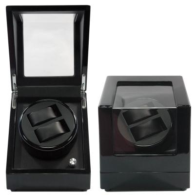 WISH 機械腕錶自動上鍊盒‧2只裝-全黑鋼琴烤漆