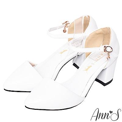 Ann'S Lovely 搖曳水鑽顯瘦側V繫踝尖頭粗跟鞋 白
