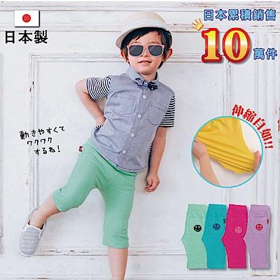 日本雜誌款-日製微笑圖案七分褲(藍綠/粉綠/桃紅/紫)