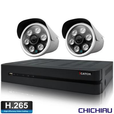 奇巧H.265 4路5MP iCATCH監控組含台製SONY1080P鏡頭*2