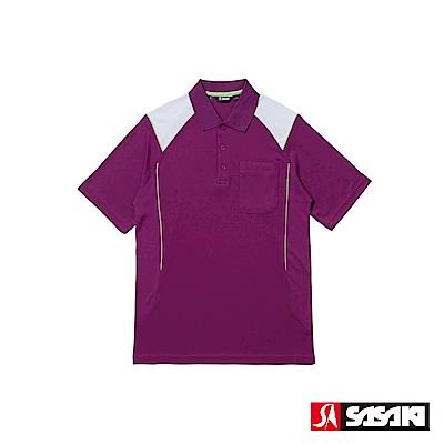 SASAKI 長效性吸濕排汗功能網球短衫-男-深葡萄紫/豔綠