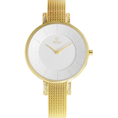 OBAKU 采耀時刻晶鑽米蘭腕錶-白x金色/34mm