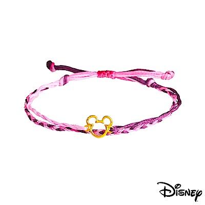 Disney迪士尼系列金飾 黃金 彩色蠟繩手鍊 經典米奇款