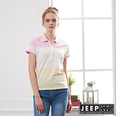 JEEP 女裝 拼接造型短袖POLO衫-粉色