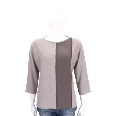 FABIANA FILIPP 咖啡灰色塊拼接美麗諾羊毛針織上衣(75%WOOL)