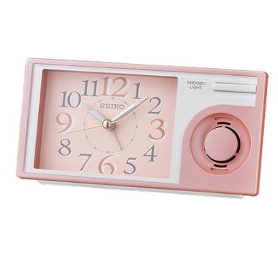SEIKO 日本精工 滑動式秒針 音樂鬧鐘(QHP004P)-粉/7.5X14.9cm