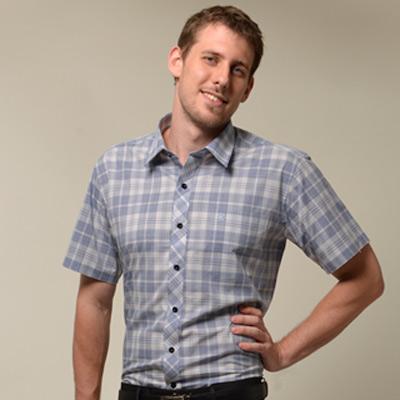 【金安德森】藍色經典格黑扣窄版短袖襯衫