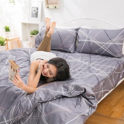 eyah宜雅 全程台灣製100%頂極精梳棉雙人床包枕套三件組 一起手牽手連成線