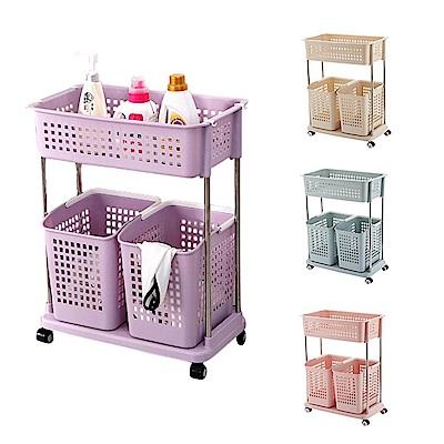 【Incare】滾輪升級版多層分類洗衣收納籃(4色/2層)