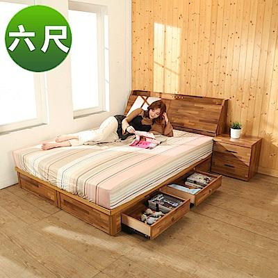 BuyJM拼接木系列雙人6尺2件式房間組(床頭箱+四抽床底)-免組