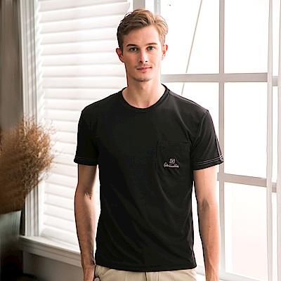 Valentino Rudy范倫鐵諾.路迪-透氣機能圓領T恤衫-黑