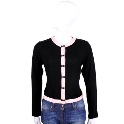 ANNA RACHELE 黑x粉蝴蝶結釦飾羊毛外套