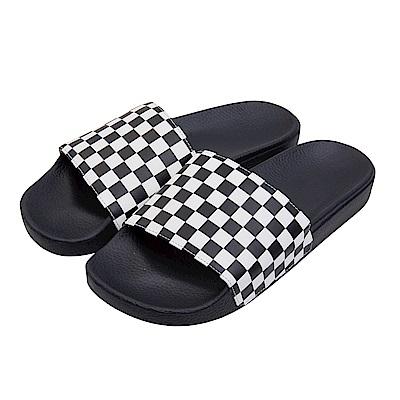 (男)VANS Slide-On 棋盤格休閒拖鞋*黑色VN0004KIIP9