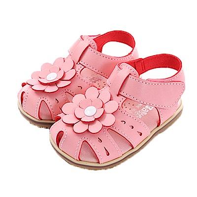 魔法Baby花朵魔鬼貼手工涼鞋 sk0364