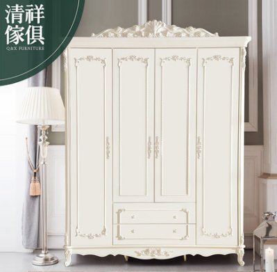 【新竹清祥家具】FBF-04BF01-法式象牙白四門衣櫃 衣櫥 高低櫃 收納櫃 置物櫃 工業風/美式/田園/歐式/北歐