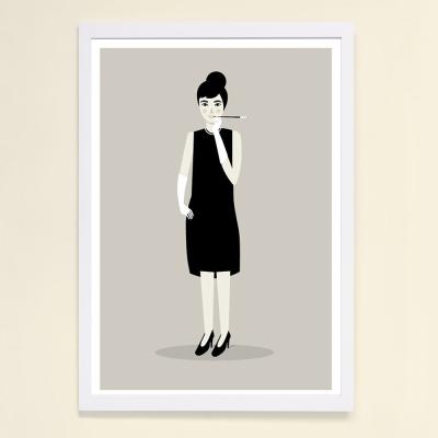 西班牙插畫家Judy Kaufmann藝術版畫-奧黛麗赫本(掛畫附簽名/含木框)