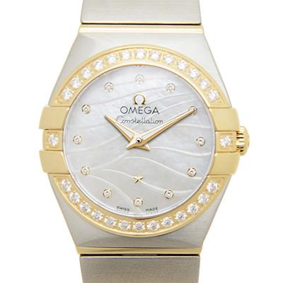 OMEGA 歐米茄 星座系列波紋黃K金珍珠貝母腕錶-24mm