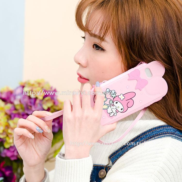 【Sanrio  】iPhone 6 Plus/6s Plus 皮革彩繪耳朵造型保護套(附吊繩)-美樂蒂款