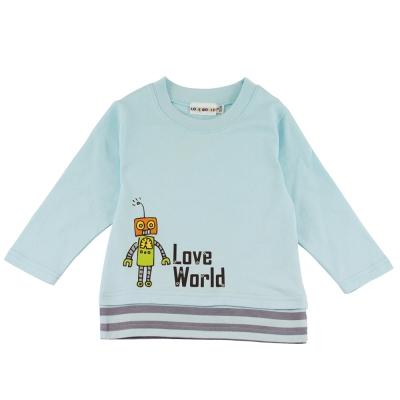 愛的世界 純棉機器人拚接下襬長袖上衣-藍/1~3歲