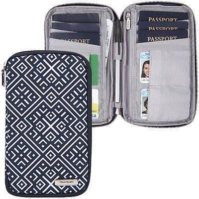 《TRAVELON》多功能旅遊護照包(格紋)