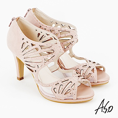 A.S.O 炫麗魅惑  全真皮鏤空弧形高跟魚口鞋粉紅