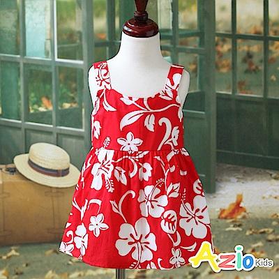 Azio Kids 洋裝 夏日花朵印花肩帶無袖洋裝(紅)
