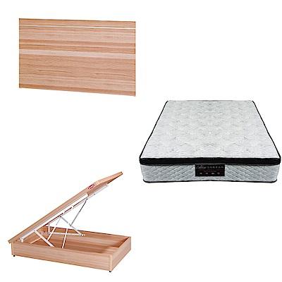 綠活居 梅娜3.5尺單人床台三式組合(床頭片+後掀床底+正三線涼感獨立筒)五色可選