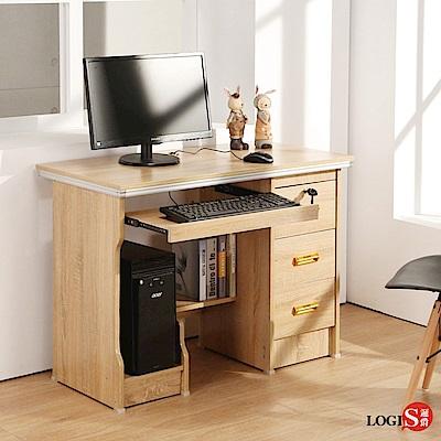 學生書桌 木紋桌 LOGIS實惠附主機架三抽電腦桌1M 書桌 多用途 租屋族