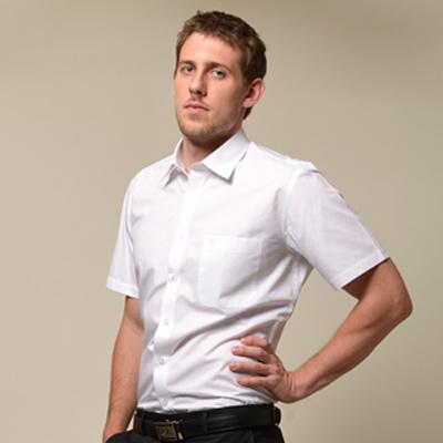 【金安德森】白色窄版短袖襯衫