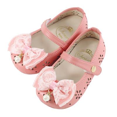 Swan天鵝童鞋-粉彩雕花摟空學步鞋 1481-桔