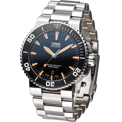 Oris Aquis 300米潛水機械錶-黑x橘時標/43mm