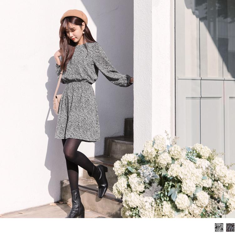 古典感氣質印花腰鬆緊雪紡洋裝