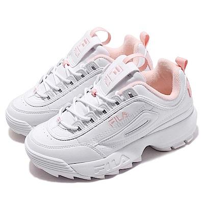 品牌: FILAn型號: 4C608S115n配色: 白色 粉紅色n特點: 運動 經典 韓版 老爹鞋 舒適 穿搭 球鞋 白 粉n規格:偏小建議大半號