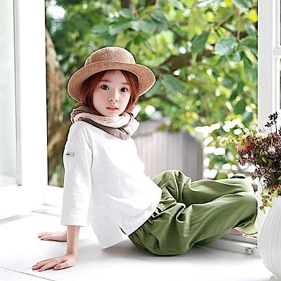 小衣衫童裝  中大童中性百搭白色純棉九分袖上衣1060805
