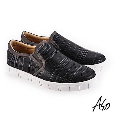 A.S.O 阿瘦 輕量抗震 個性百搭休閒鞋 黑 10014000343-99