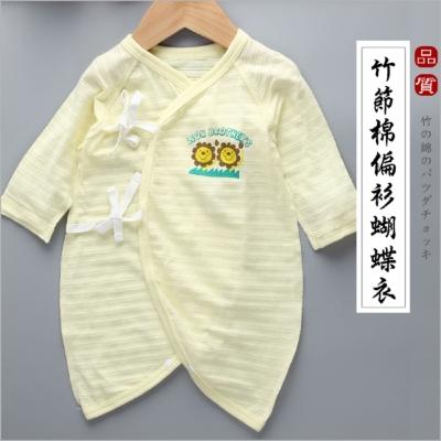 日本熱銷夏季超薄竹節棉新生兒連身衣蝴蝶衣(2件/組)